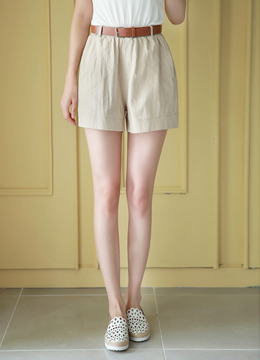 Dailywear Cotton Blend Belted Shorts, Styleonme