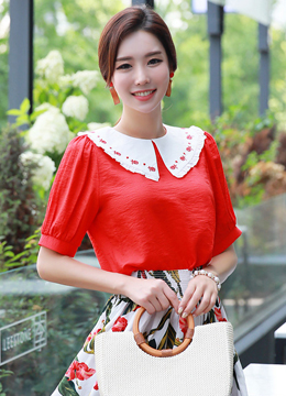 Rose Embroidered Frill Collar Blouse, Styleonme