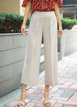 Pintuck Detail Ankle Length Wide Leg Pants, Styleonme