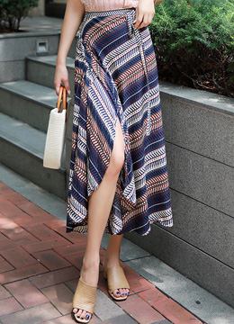 Ethnic Print Wrap Long Skirt, Styleonme