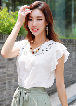 Flower Embroidered V-Neck Blouse, Styleonme