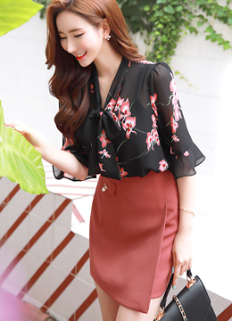 Floral Print Neck Tie Chiffon Blouse, Styleonme