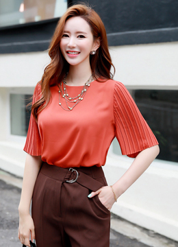 Pleated Sleeve Blouse, Styleonme