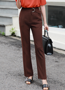 Double D-Ring Belted Straight Leg Slacks, Styleonme