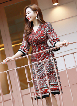 Ethnic Print Two Way Wrap Dress, Styleonme