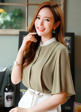 Flared Sleeve Button-Up Blouse, Styleonme
