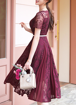 Floral Lace Chiffon Flared Dress, Styleonme