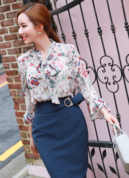Floral Print Neck Tie Ruffle Sleeve Blouse, Styleonme