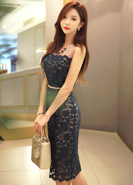 Sleeveless Floral Lace Dress, Styleonme