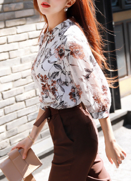 Floral Print Quarter Sleeve Collared Blouse, Styleonme