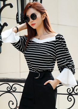 Stripe Off-Shoulder Balloon Sleeve T-Shirt, Styleonme