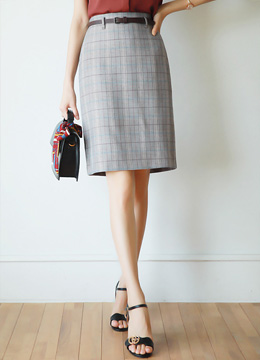 Check Print Belted H-Line Skirt, Styleonme