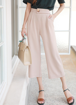 Gold Button Wide Leg Cropped Slacks, Styleonme