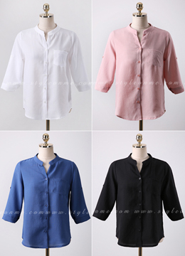 Roll-Up Sleeve Button-Up Shirt, Styleonme