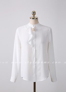 Pearl Brooch Button-Up Blouse, Styleonme