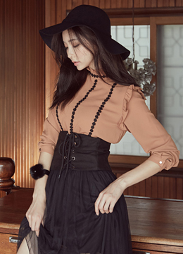 Black Lace Trim Frill Detail Blouse, Styleonme