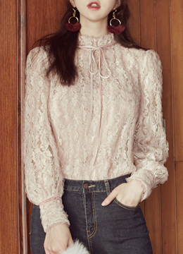 Velvet Ribbon See-through Lace Blouse, Styleonme