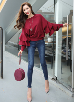 Ruffle Sleeve Knit Top, Styleonme