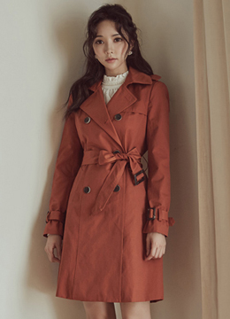 Fall Color Classic Trench Coat, Styleonme