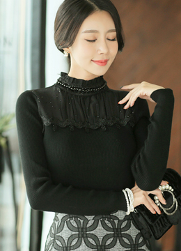 Pearl Detail Frill Neckline Knit Tee, Styleonme