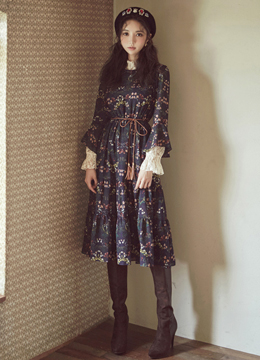 Floral Print Frill Sleeve Flared Dress, Styleonme