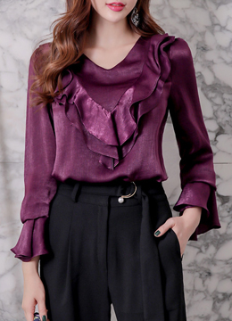 Ruffle Bell Sleeve Belt Set Blouse, Styleonme