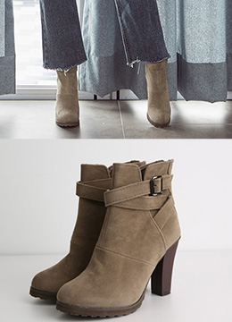 Cross Strap Suede High Heel Ankle Boots, Styleonme