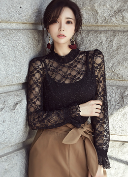 See-through Floral Lace Blouse, Styleonme