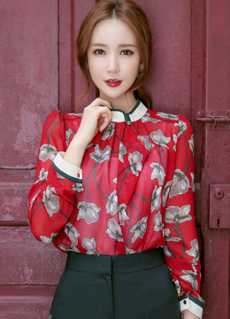 See-through Floral Print High Neck Blouse, Styleonme