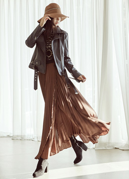Wrap Style Pleated Maxi Long Skirt, Styleonme