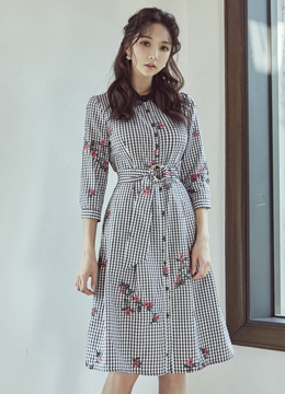Flower Embroidered Gingham Print Collared Dress, Styleonme