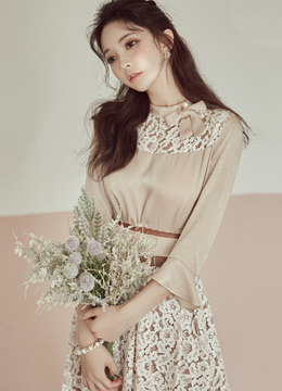 Pearl Ribbon Lace Detail Belt Set Blouse, Styleonme