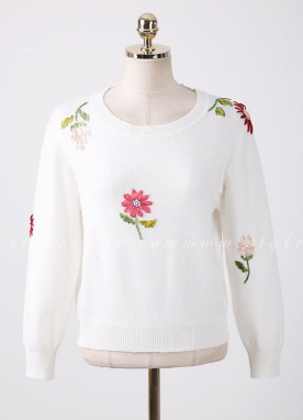 Flower Embroidered Round Neck Knit Top, Styleonme