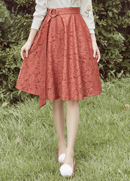 Floral Lace Belted Flared Skirt, Styleonme