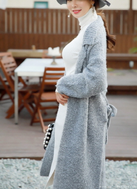 Wool Waist Tie Long Knit Coat, Styleonme