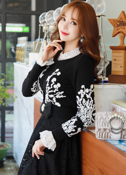 Feminine White Floral Embroidered Cardigan, Styleonme