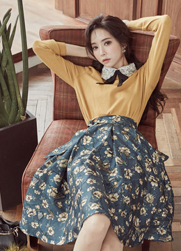 Floral Print Belt Set Flared Skirt, Styleonme