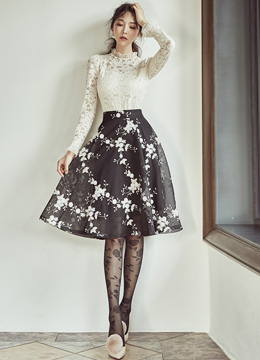Flower Embroidered Mesh Flared Skirt, Styleonme