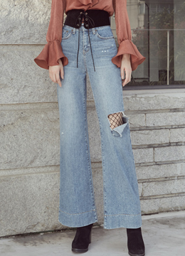Ripped Wide Leg Boot-Cut Jeans, Styleonme