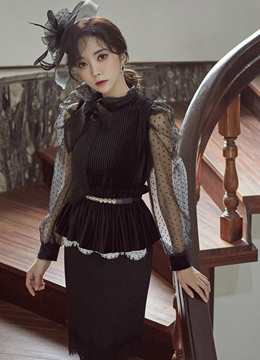 Ribbon Tie See-through Puff Sleeve Blouse, Styleonme