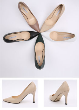 Pointed Leather Stiletto Heels, Styleonme