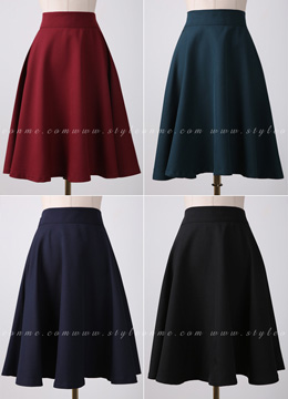 Basic Solid Color Flared Skirt, Styleonme