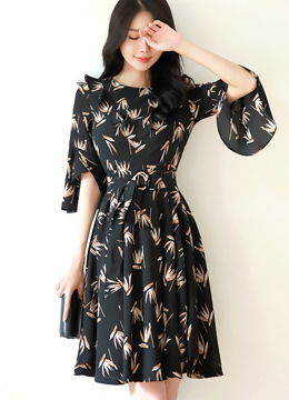 Autumn Leaf Print Ruffle Flared Dress, Styleonme