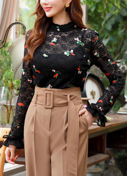 Rose Embroidered Black Lace Blouse, Styleonme