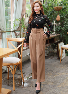 High-Waisted Belted Wide Leg Slacks, Styleonme
