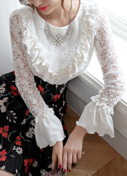 Floral Lace Bell Sleeve Ruffle Blouse, Styleonme