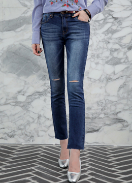 Slit Cut Gradient Blue Wash Skinny Jeans, Styleonme