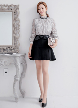 Black Floral Lace High Neck Blouse, Styleonme