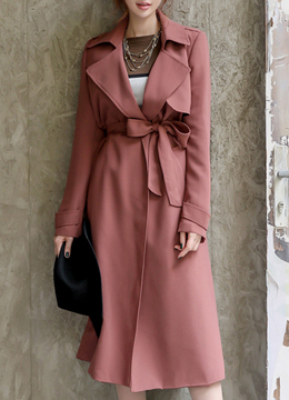 Ribbon Waist Tie Long Trench Coat, Styleonme