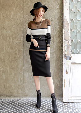 Color Block Slim Fit Knit Dress, Styleonme